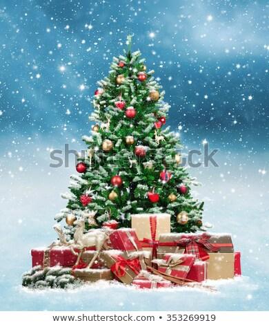 Geschenkbox · Weihnachten · Dekor · isoliert · weiß - stock foto © karandaev