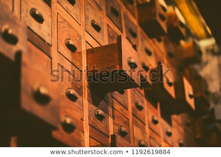 Stock photo: Wooden cabinet drawers