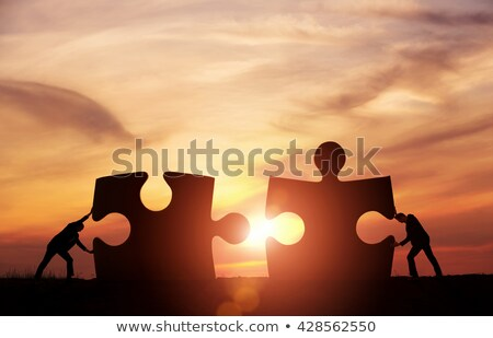 business puzzle merging together stock photo © lightsource