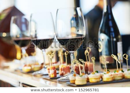 Asztal esküvő ebédlőasztal vacsora buli üveg Stock fotó © amok