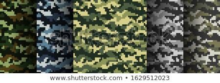 Szett álca katonaság pixel stílus végtelen minta Stock fotó © gladiolus