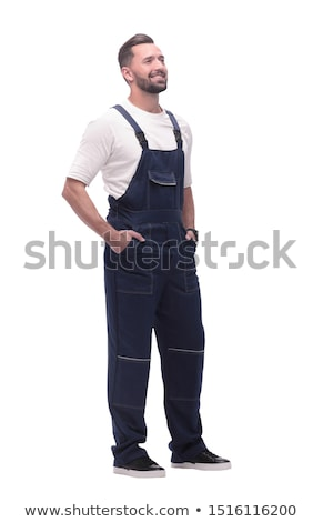Férfi kék átfogó idős munka visel Stock fotó © ivonnewierink