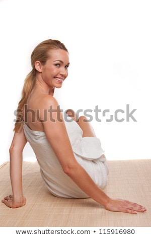 Young Woman in Bath Towel Looking Over Shoulder Stock photo © dash