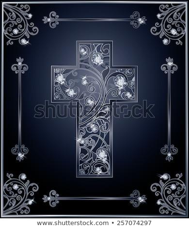 gyémánt · katolikus · kereszt · kártya · háttér · Jézus - stock fotó © carodi