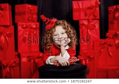 mooie · meisje · zoals · christmas · aanwezig - stockfoto © PetrMalyshev