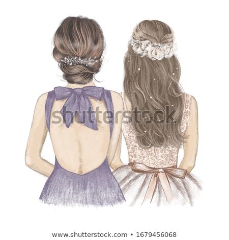 Menyasszony illusztráció esküvői ruha mosoly buli nők Stock fotó © adrenalina
