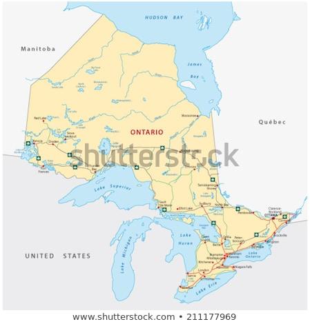 Térkép Ontario kék vektor Kanada izolált Stock fotó © rbiedermann