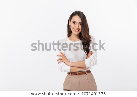 Zdjęcia stock: Kobieta · odizolowany · biały · uśmiechnięty · fałdowy