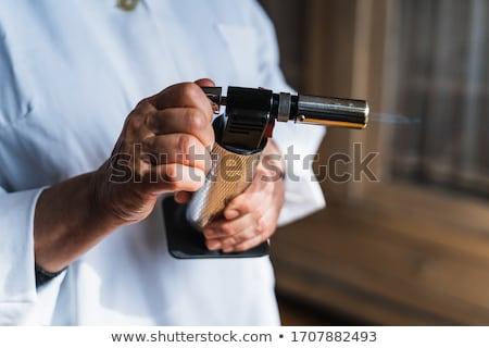 Férfi kéz tart bután konyha zseblámpa Stock fotó © ozgur