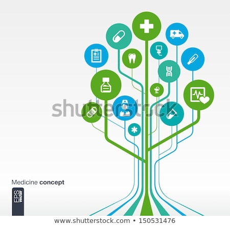 health care circle medical line icons set stock photo © anna_leni