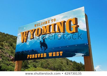 Bienvenida Wyoming signo cielo carretera mapa Foto stock © AndreyKr