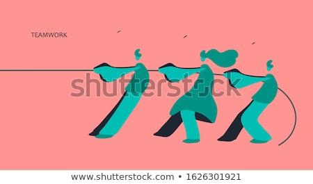 Iş adamları halat beyaz kadın takım Stok fotoğraf © wavebreak_media