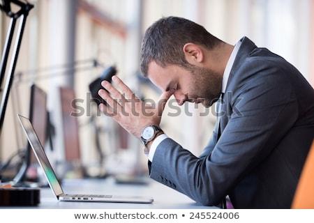 üzücü iş adamı yalıtılmış bavul arka plan yürütme Stok fotoğraf © fuzzbones0