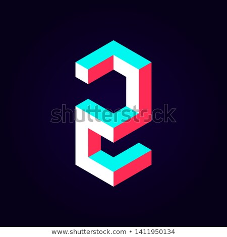 Stock photo: 2 Number Vector blue Web Icon