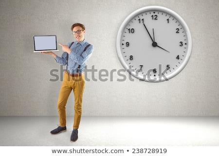 gelukkig · zakenman · tonen · display · laptop · computer · foto - stockfoto © wavebreak_media