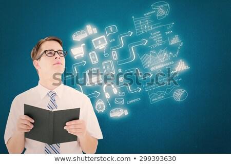 geeky businessman reading a book stock photo © wavebreak_media