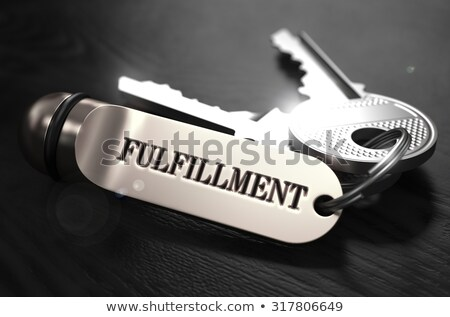 Teljesülés kulcsok fekete fa asztal közelkép kilátás Stock fotó © tashatuvango