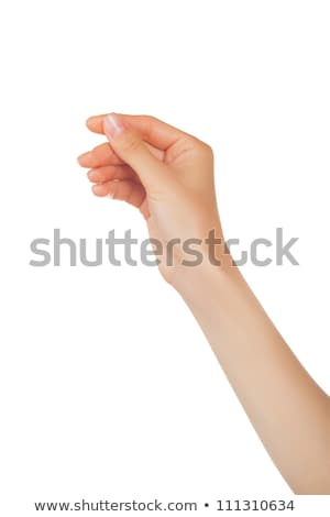 Womans arm with vertical blank card Stock photo © cherezoff
