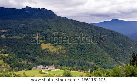 Mountain stone house slate roof in Pyrenees Stock photo © lunamarina