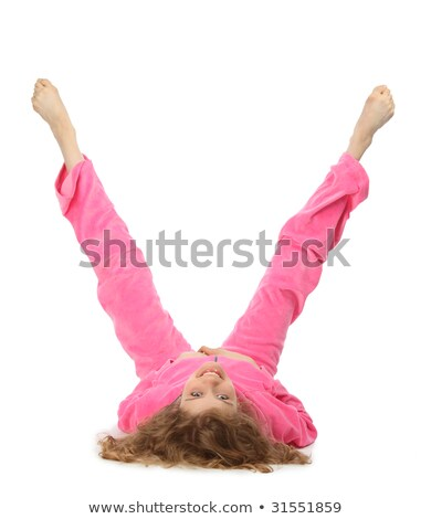 girl in pink clothes represents letter v stock photo © paha_l