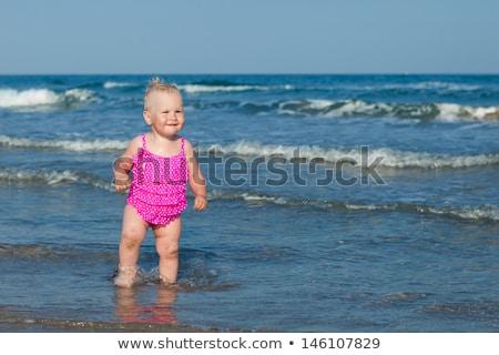 nő · fehér · viharos · tenger · gyönyörű · nő · fehér · ruha - stock fotó © paha_l