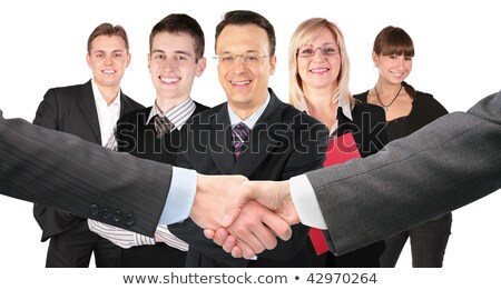 shaking hands with wrists and five business group collage Stock photo © Paha_L