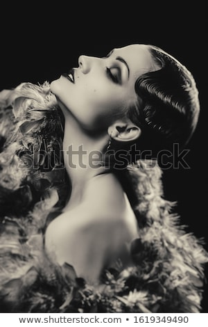 Stock photo: Profile of charming alluring attractive young woman in black bra
