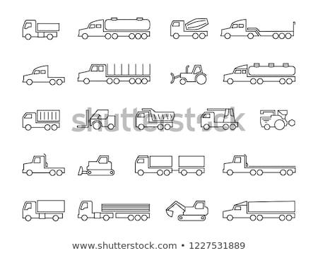 escavatore · camion · line · icona · web · mobile - foto d'archivio © RAStudio