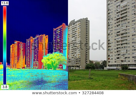 Infrared and real image on Residential building Stock photo © smuki