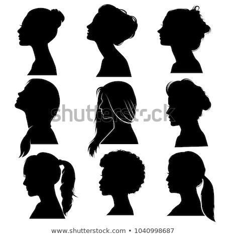 silhouette · belle · fille · profile · cheveux · longs · stock · isolé - photo stock © nezezon