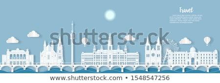 panorámakép · kilátás · Bécs · város · Ausztria · iroda - stock fotó © meinzahn