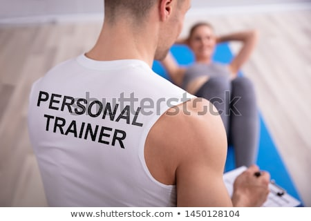 Uygun personal trainer yazı portre spor Stok fotoğraf © wavebreak_media