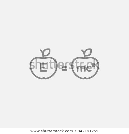 two apples with formulae line icon stock photo © rastudio
