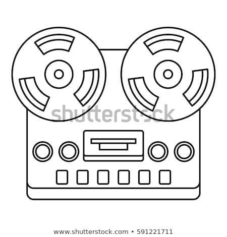 Reel tape deck player recorder line icon. Stock photo © RAStudio