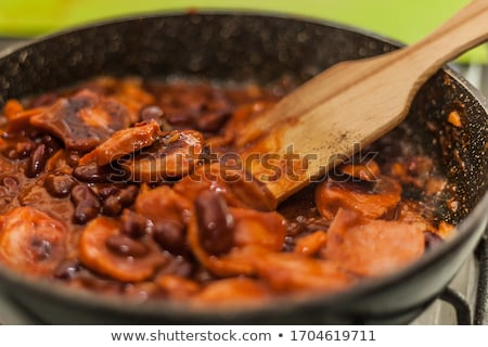 Stock photo: Red beans and sausages