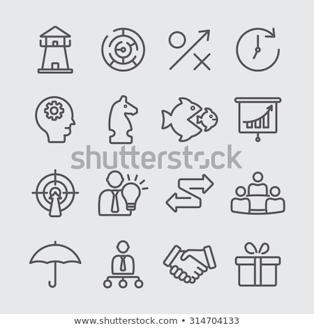 human head with clock line icon stock photo © rastudio