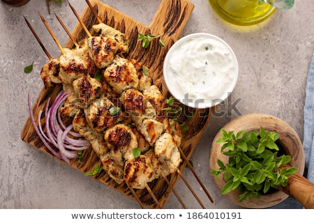 Stock photo: Pork sticks with fresh salad