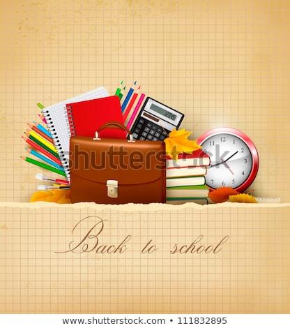 Okula geri yeşil kalem yaprak doku kitap Stok fotoğraf © carodi