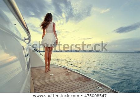 Lány jacht csinos fehér fürdőruha tenger Stock fotó © bezikus