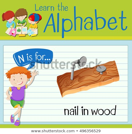 Flashcard alphabet N is for nail in wood Stock photo © bluering