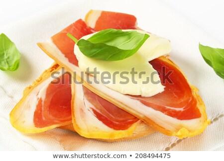 Kenyér prosciutto mozzarella szeletek étel hús Stock fotó © Digifoodstock