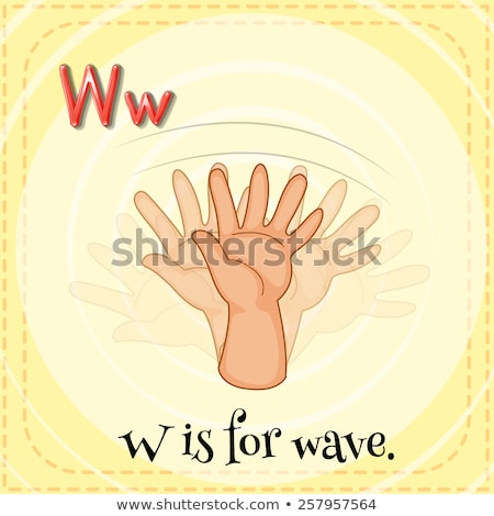 Flashcard letter W is for wave Stock photo © bluering