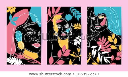 young beautiful woman portrait abstract background stock photo © nobilior