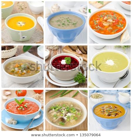 新鮮な カボチャ スープ コラージュ ランチ ストックフォト © drobacphoto