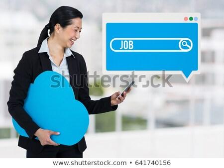 nő · tart · telefon · felhő · iroda · digitális · kompozit - stock fotó © wavebreak_media