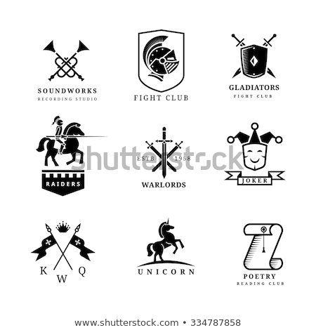 set of the emblems templates with swords and knights helmets de stock photo © masay256