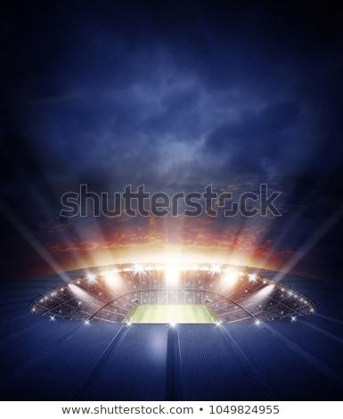 Verlicht voetbal stadion bewolkt hemel wolken Stockfoto © wavebreak_media