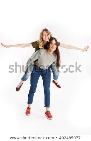 dos · alegre · adolescentes · aislado · blanco · feliz - foto stock © iordani