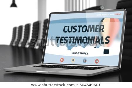 Customer Testimonials on Laptop in Conference Room. 3D. Stock photo © tashatuvango