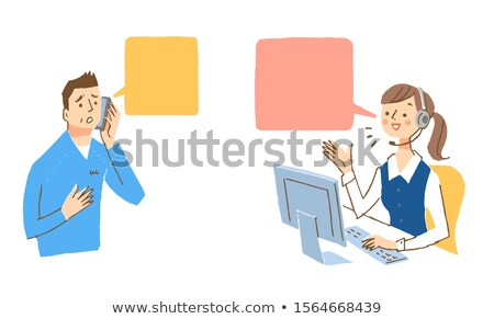 Senior woman with balloons at desk Stock photo © IS2